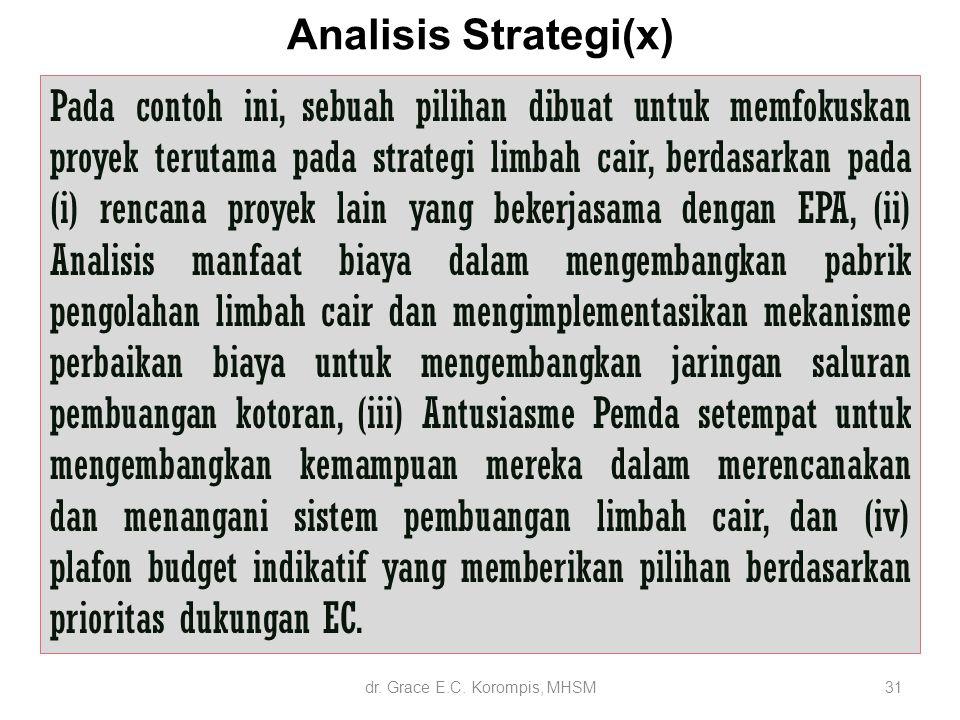 Analisis Strategi(x) 31 Pada contoh ini, sebuah pilihan dibuat untuk memfokuskan proyek terutama pada strategi limbah cair, berdasarkan pada (i) renca