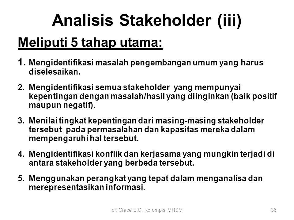 Analisis Stakeholder (iii) Meliputi 5 tahap utama: 1. Mengidentifikasi masalah pengembangan umum yang harus diselesaikan. 2.Mengidentifikasi semua sta