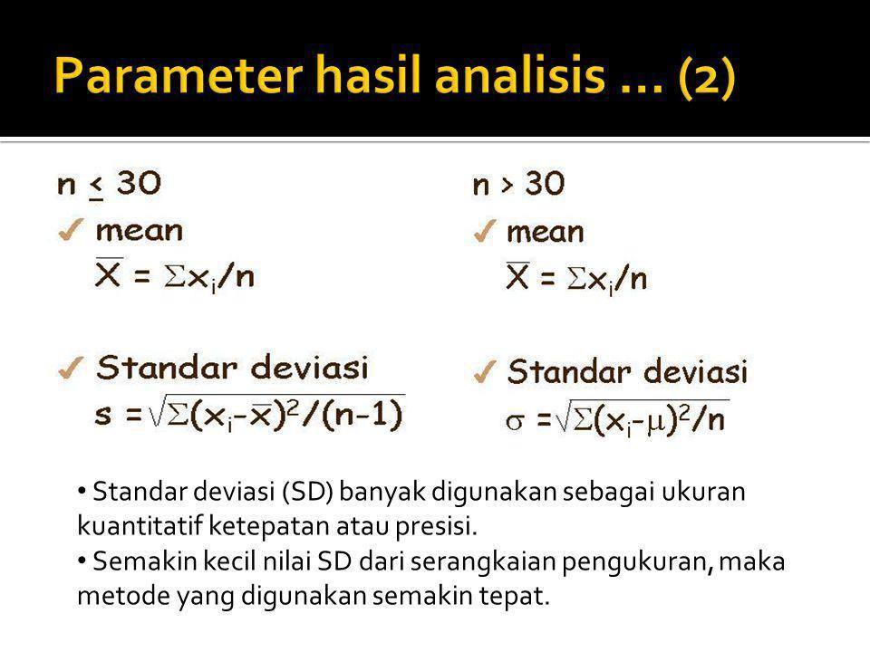 Standar deviasi (SD) banyak digunakan sebagai ukuran kuantitatif ketepatan atau presisi. Semakin kecil nilai SD dari serangkaian pengukuran, maka meto