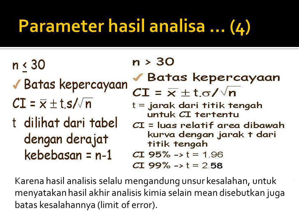 Karena hasil analisis selalu mengandung unsur kesalahan, untuk menyatakan hasil akhir analisis kimia selain mean disebutkan juga batas kesalahannya (l