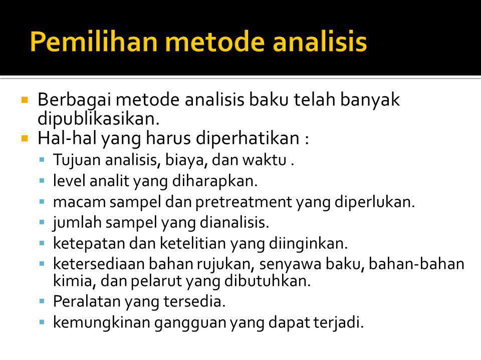  Berbagai metode analisis baku telah banyak dipublikasikan.  Hal-hal yang harus diperhatikan :  Tujuan analisis, biaya, dan waktu.  level analit y