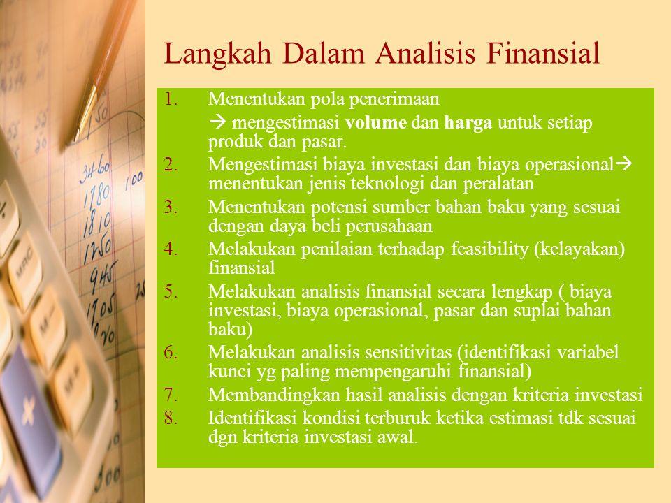 Langkah Dalam Analisis Finansial 1.Menentukan pola penerimaan  mengestimasi volume dan harga untuk setiap produk dan pasar. 2.Mengestimasi biaya inve