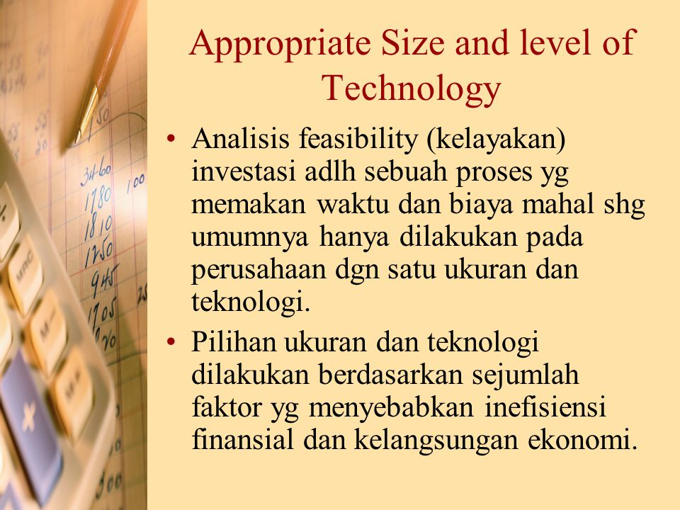 Appropriate Size and level of Technology Analisis feasibility (kelayakan) investasi adlh sebuah proses yg memakan waktu dan biaya mahal shg umumnya ha