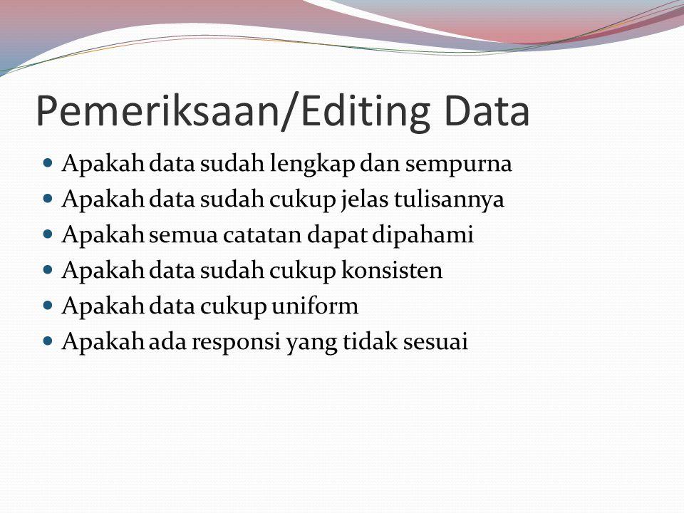 Pemeriksaan/Editing Data Apakah data sudah lengkap dan sempurna Apakah data sudah cukup jelas tulisannya Apakah semua catatan dapat dipahami Apakah data sudah cukup konsisten Apakah data cukup uniform Apakah ada responsi yang tidak sesuai
