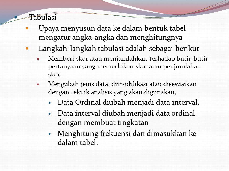 Tabulasi Upaya menyusun data ke dalam bentuk tabel mengatur angka-angka dan menghitungnya Langkah-langkah tabulasi adalah sebagai berikut Memberi skor atau menjumlahkan terhadap butir-butir pertanyaan yang memerlukan skor atau penjumlahan skor.