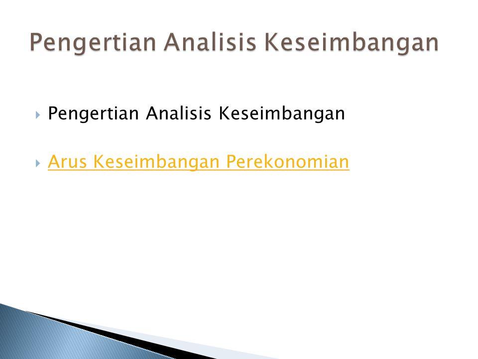  Pengertian Analisis Keseimbangan  Arus Keseimbangan Perekonomian Arus Keseimbangan Perekonomian