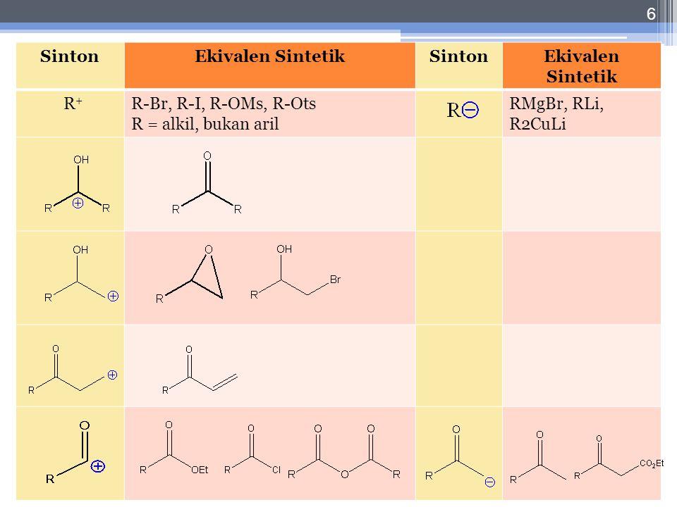 Let, 2/11-10-2010 6 SintonEkivalen SintetikSintonEkivalen Sintetik R + R-Br, R-I, R-OMs, R-Ots R = alkil, bukan aril RMgBr, RLi, R2CuLi