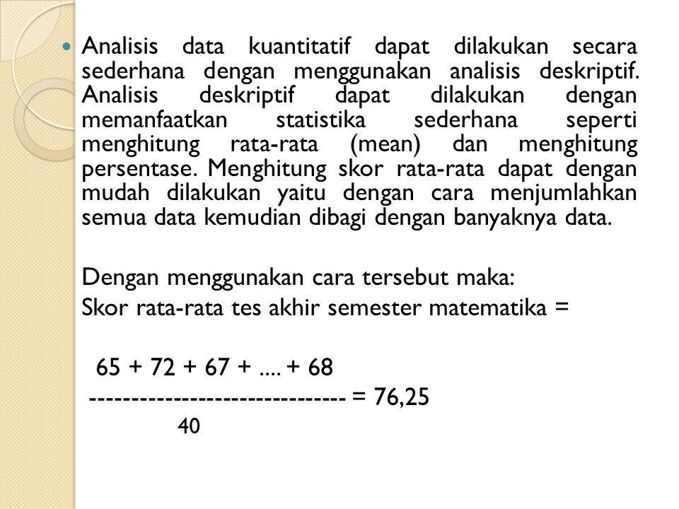 Analisis data kuantitatif dapat dilakukan secara sederhana dengan menggunakan analisis deskriptif. Analisis deskriptif dapat dilakukan dengan memanfaa