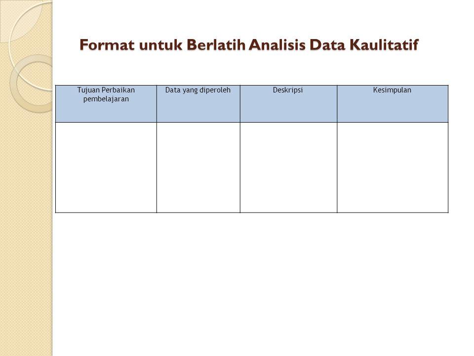 Format untuk Berlatih Analisis Data Kaulitatif Tujuan Perbaikan pembelajaran Data yang diperolehDeskripsiKesimpulan