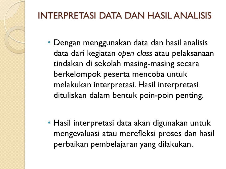 INTERPRETASI DATA DAN HASIL ANALISIS Dengan menggunakan data dan hasil analisis data dari kegiatan open class atau pelaksanaan tindakan di sekolah mas