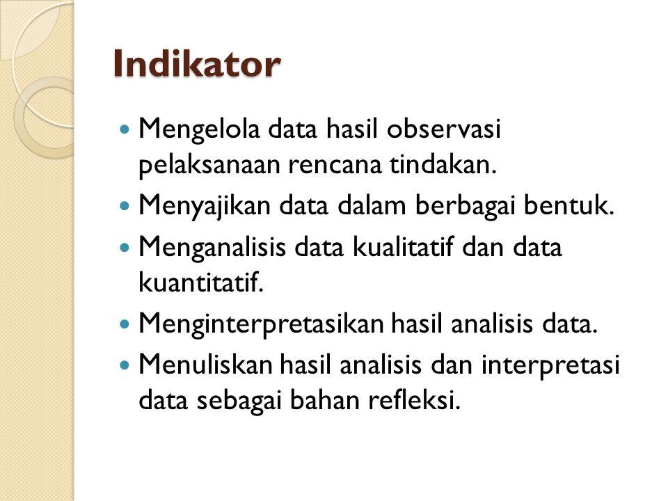 Indikator Mengelola data hasil observasi pelaksanaan rencana tindakan. Menyajikan data dalam berbagai bentuk. Menganalisis data kualitatif dan data ku