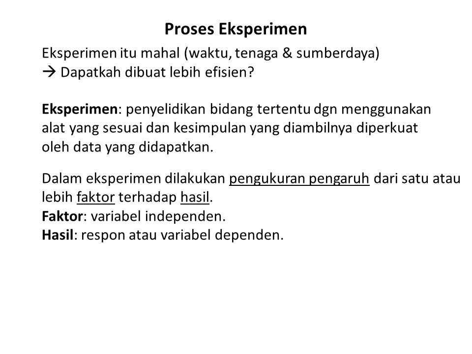 Proses Eksperimen Eksperimen itu mahal (waktu, tenaga & sumberdaya)  Dapatkah dibuat lebih efisien.