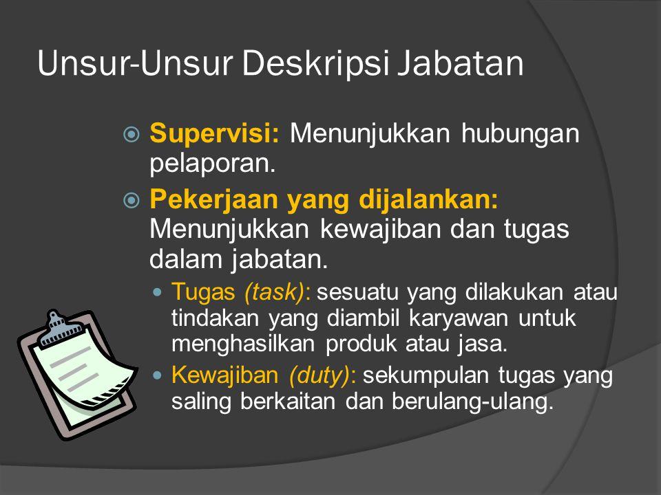 Unsur-Unsur Deskripsi Jabatan  Supervisi: Menunjukkan hubungan pelaporan.  Pekerjaan yang dijalankan: Menunjukkan kewajiban dan tugas dalam jabatan.