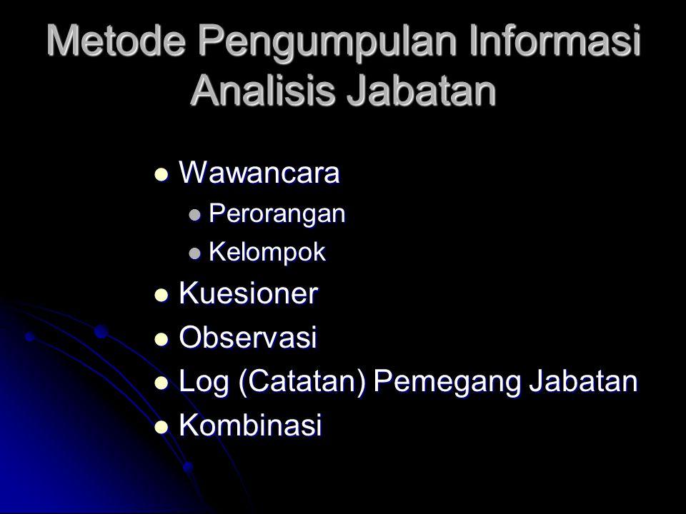 Metode Pengumpulan Informasi Analisis Jabatan Wawancara Wawancara Perorangan Perorangan Kelompok Kelompok Kuesioner Kuesioner Observasi Observasi Log