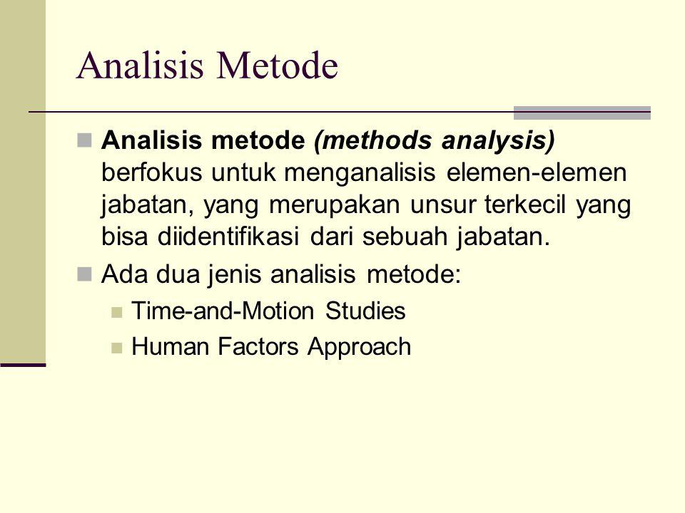 Analisis Metode Analisis metode (methods analysis) berfokus untuk menganalisis elemen-elemen jabatan, yang merupakan unsur terkecil yang bisa diidenti