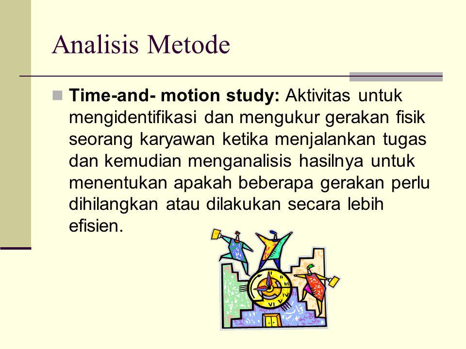 Analisis Metode Time-and- motion study: Aktivitas untuk mengidentifikasi dan mengukur gerakan fisik seorang karyawan ketika menjalankan tugas dan kemu