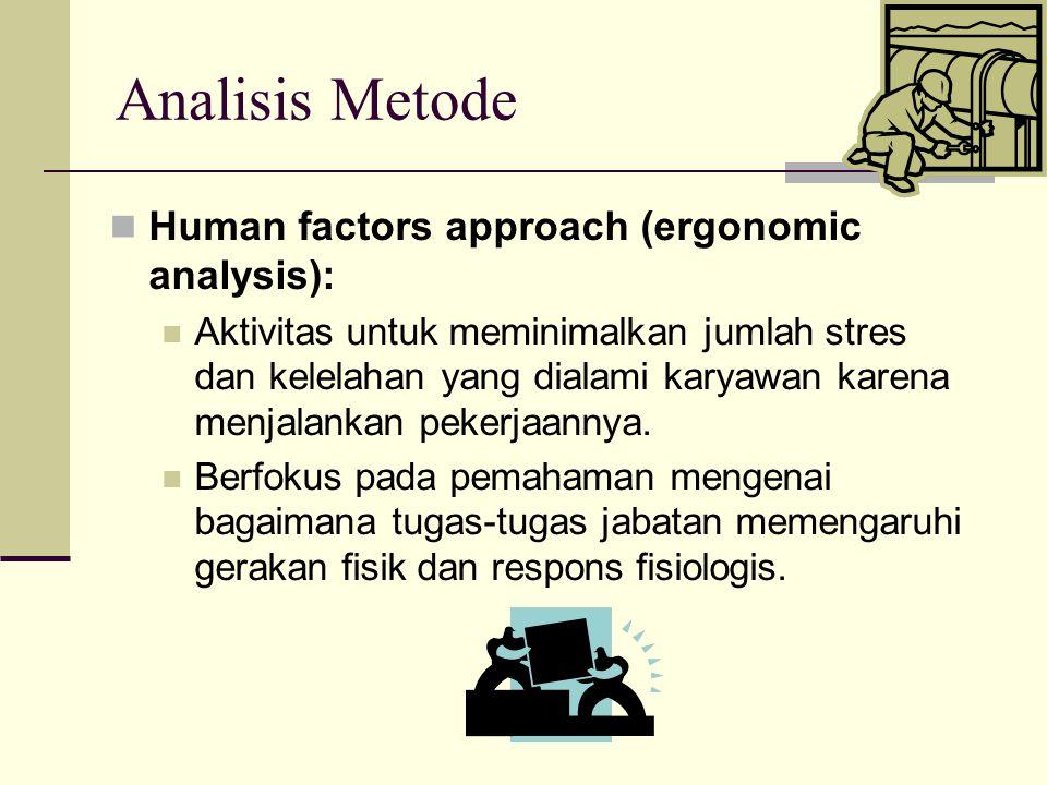 Analisis Metode Human factors approach (ergonomic analysis): Aktivitas untuk meminimalkan jumlah stres dan kelelahan yang dialami karyawan karena menj