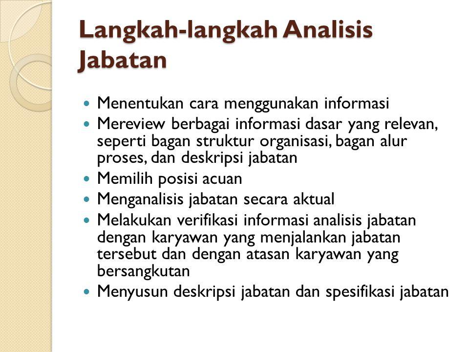 Langkah-langkah Analisis Jabatan Menentukan cara menggunakan informasi Mereview berbagai informasi dasar yang relevan, seperti bagan struktur organisa