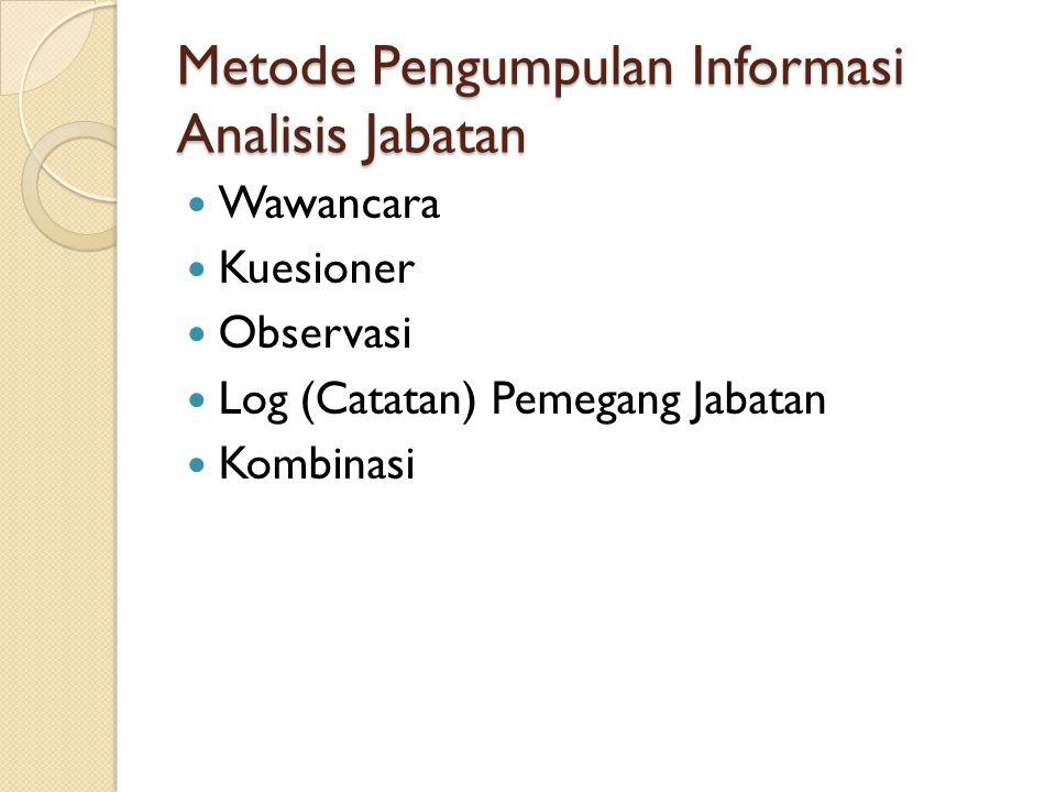 Metode Pengumpulan Informasi Analisis Jabatan Wawancara Kuesioner Observasi Log (Catatan) Pemegang Jabatan Kombinasi