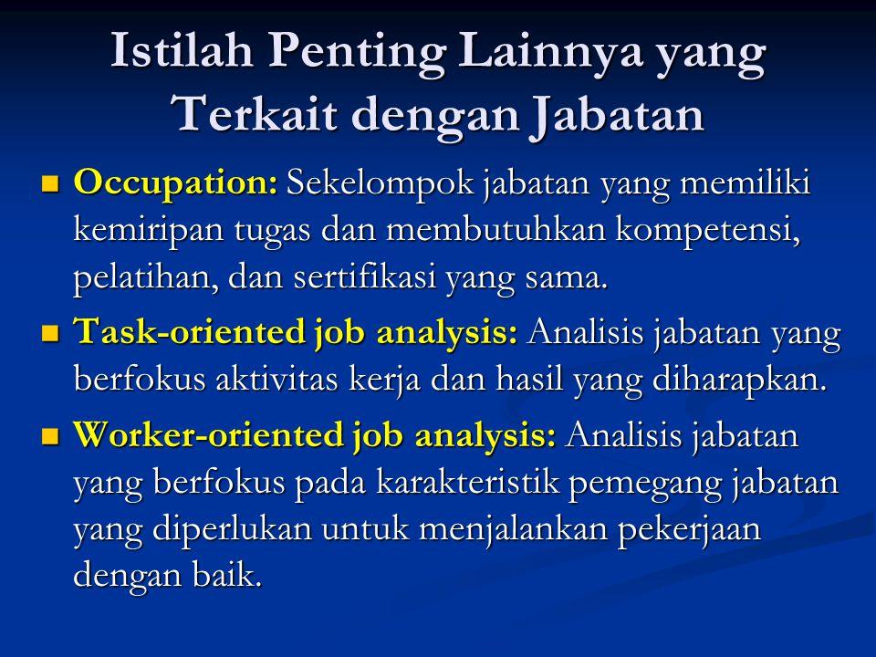 Panduan Pelaksanaan Analisis Jabatan Analisis jabatan harus dilaksanakan bersama oleh spesialis SDM, karyawan, dan atasan karyawan yang bersangkutan.