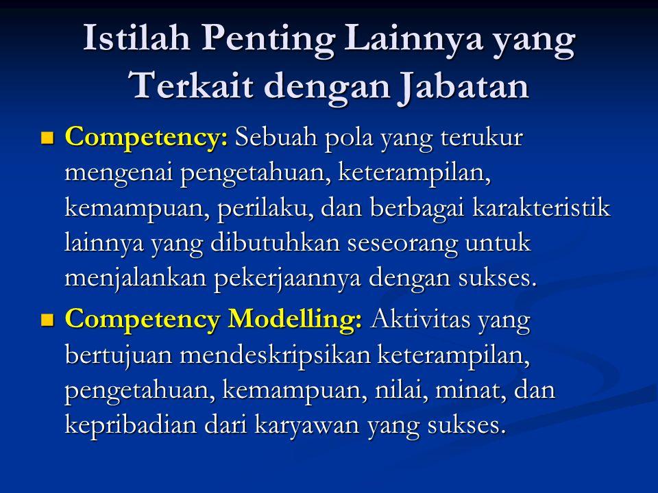 Istilah Penting Lainnya yang Terkait dengan Jabatan Competency: Sebuah pola yang terukur mengenai pengetahuan, keterampilan, kemampuan, perilaku, dan