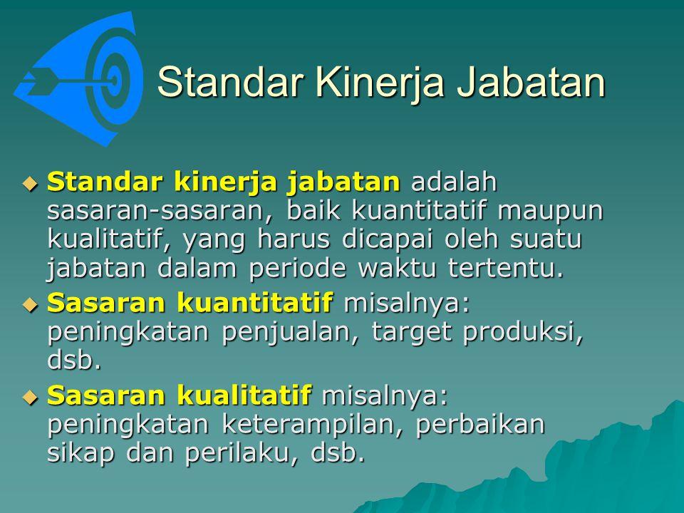 Standar Kinerja Jabatan  Standar kinerja jabatan adalah sasaran-sasaran, baik kuantitatif maupun kualitatif, yang harus dicapai oleh suatu jabatan da