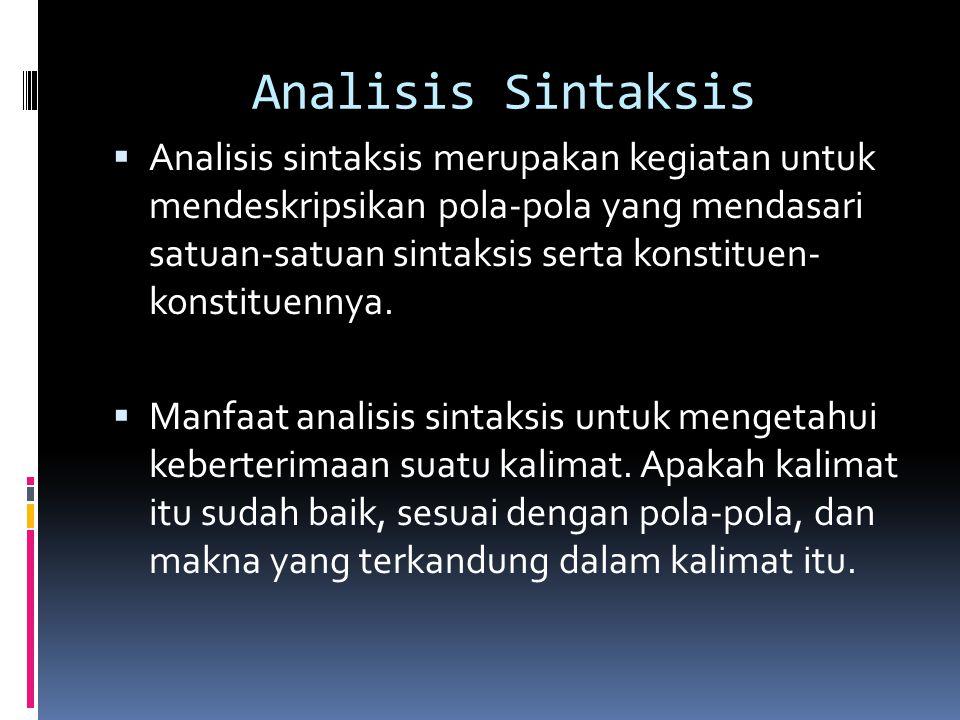Analisis Sintaksis  Analisis sintaksis merupakan kegiatan untuk mendeskripsikan pola-pola yang mendasari satuan-satuan sintaksis serta konstituen- ko
