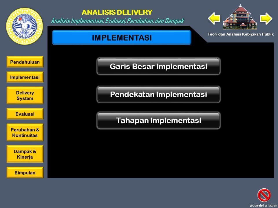 ANALISIS DELIVERY Analisis Implementasi, Evaluasi, Perubahan, dan Dampak Teori dan Analisis Kebijakan Publik ppt created by fatkhan Garis Besar Implementasi Pendekatan Implementasi Tahapan Implementasi