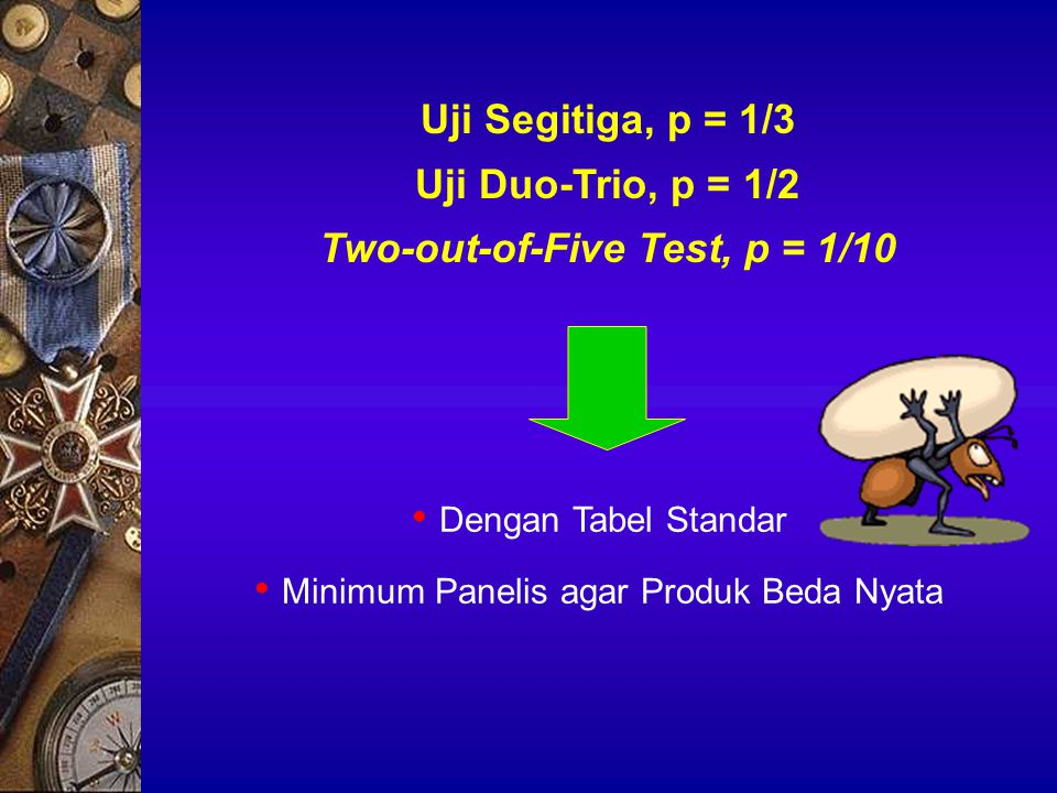 Uji Segitiga, p = 1/3 Uji Duo-Trio, p = 1/2 Two-out-of-Five Test, p = 1/10 Dengan Tabel Standar Minimum Panelis agar Produk Beda Nyata