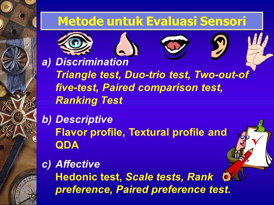 Contoh: TRIANGLE TEST n = banyaknya panelis = 20 x = banyaknya panelis yang menjawab dengan benar = 13 p = 1/3 = 0.3333 342 608 194 A A B Choose the sample that is most different
