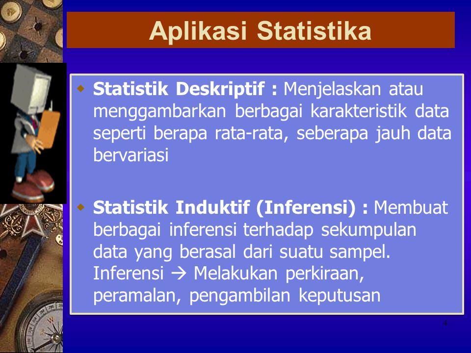 JENIS DATA NominalOrdinalIntervalRasio Bilangan menunjukkan perbedaan  Pengukuran dapat digunakan untuk membuat peringkat atau mengurutkan obyek  Perbedaan bilangan mempunyai arti  Mempunyai nol mutlak dan rasio antara dua bilangan mempunyai arti 