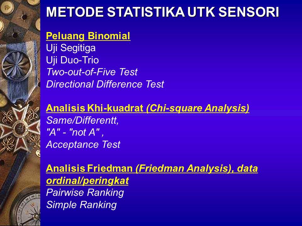 METODE STATISTIKA UTK SENSORI Uji t (Student's t Test), populasi normal, data interval/rasio Rating Approach Test Untuk Statistika nonparametrik: Uji Wilcoxon (~ pairs t- test) atau Uji U Mann-Whitney (~ independent t-test) Analysis of Variance (ANOVA), Difference-from-Control, Rating Approach Test Statistika parametrik: randomized block design (data interval, rasio) Untuk nonparametrik: uji Kruskal-Wallis (Completely random design) dan Friedman Test (Randomized block design) Descriptives: Qualitative Descriptive Analysis (QDA) Multivariate analysis: PCA, Discriminant analysis, dll