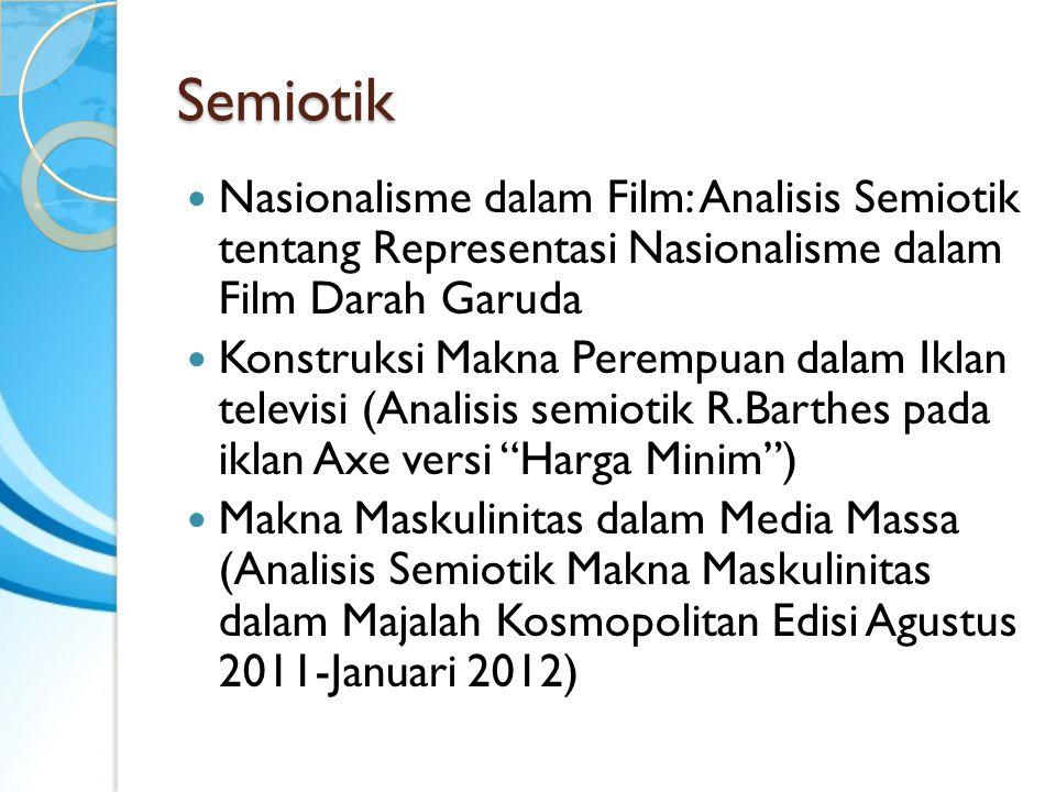Semiotik Nasionalisme dalam Film: Analisis Semiotik tentang Representasi Nasionalisme dalam Film Darah Garuda Konstruksi Makna Perempuan dalam Iklan t