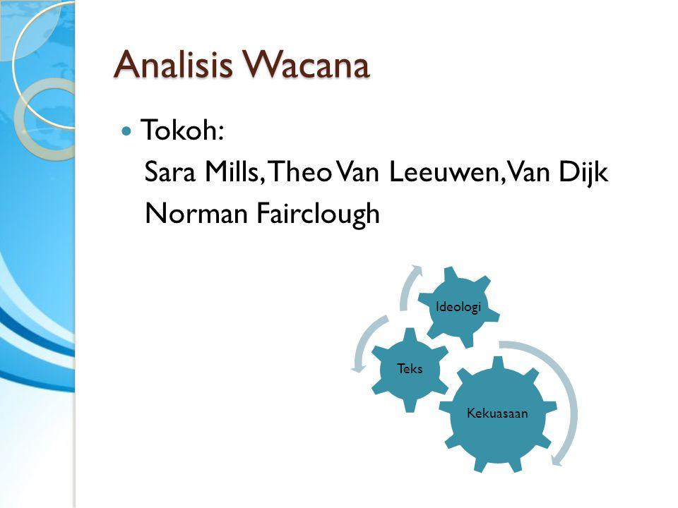 Analisis Wacana Tokoh: Sara Mills, Theo Van Leeuwen, Van Dijk Norman Fairclough Kekuasaan Teks Ideologi