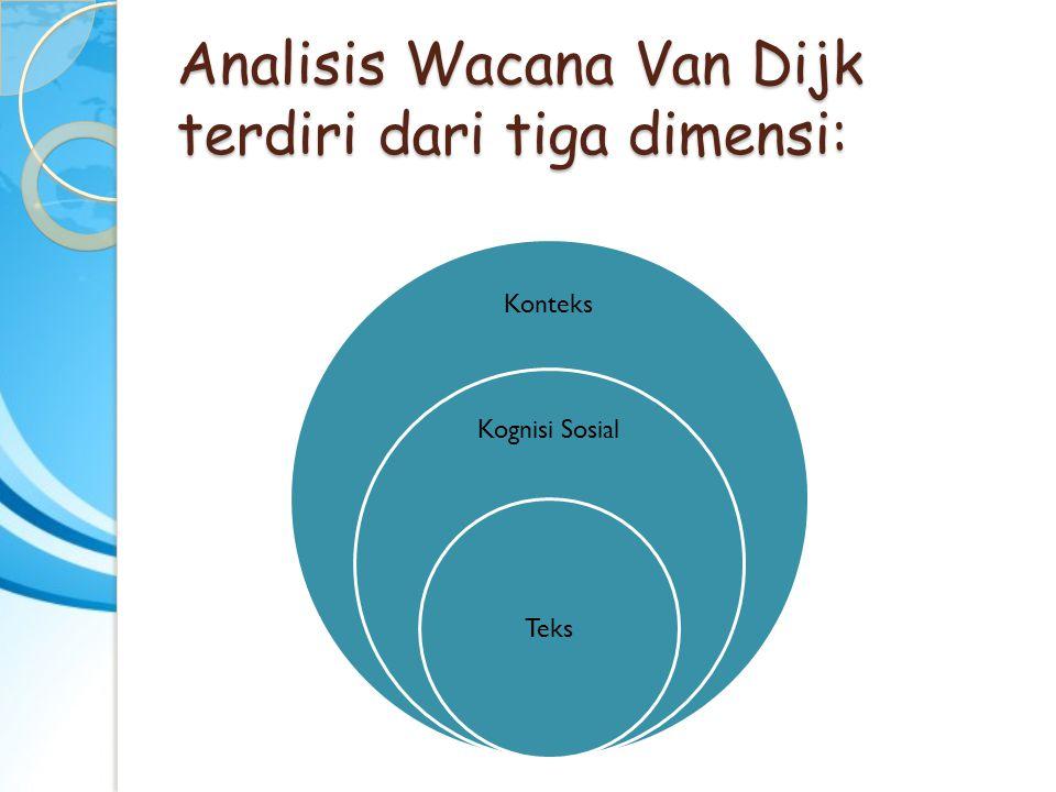 Analisis Wacana Van Dijk terdiri dari tiga dimensi: Konteks Kognisi Sosial Teks