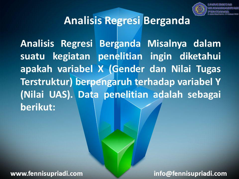 www.fennisupriadi.cominfo@fennisupriadi.com Analisis Regresi Berganda Analisis Regresi Berganda Misalnya dalam suatu kegiatan penelitian ingin diketah