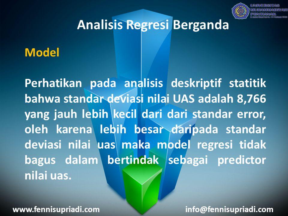 www.fennisupriadi.cominfo@fennisupriadi.com Analisis Regresi Berganda Model Perhatikan pada analisis deskriptif statitik bahwa standar deviasi nilai U