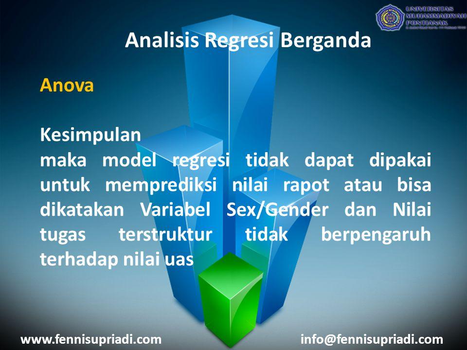 www.fennisupriadi.cominfo@fennisupriadi.com Analisis Regresi Berganda Anova Kesimpulan maka model regresi tidak dapat dipakai untuk memprediksi nilai rapot atau bisa dikatakan Variabel Sex/Gender dan Nilai tugas terstruktur tidak berpengaruh terhadap nilai uas