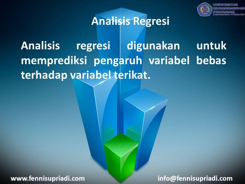 www.fennisupriadi.cominfo@fennisupriadi.com Analisis Regresi Analisis regresi digunakan untuk memprediksi pengaruh variabel bebas terhadap variabel terikat.