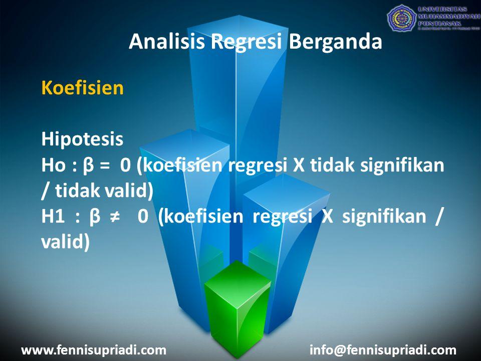 www.fennisupriadi.cominfo@fennisupriadi.com Analisis Regresi Berganda Koefisien Hipotesis Ho : β = 0 (koefisien regresi X tidak signifikan / tidak val