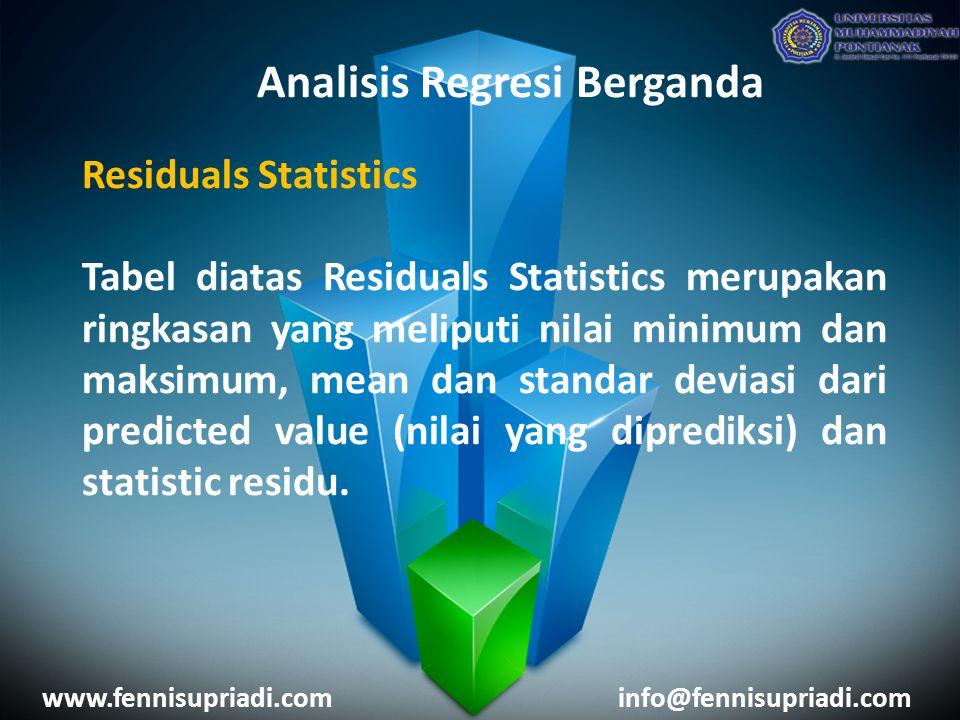 www.fennisupriadi.cominfo@fennisupriadi.com Analisis Regresi Berganda Residuals Statistics Tabel diatas Residuals Statistics merupakan ringkasan yang