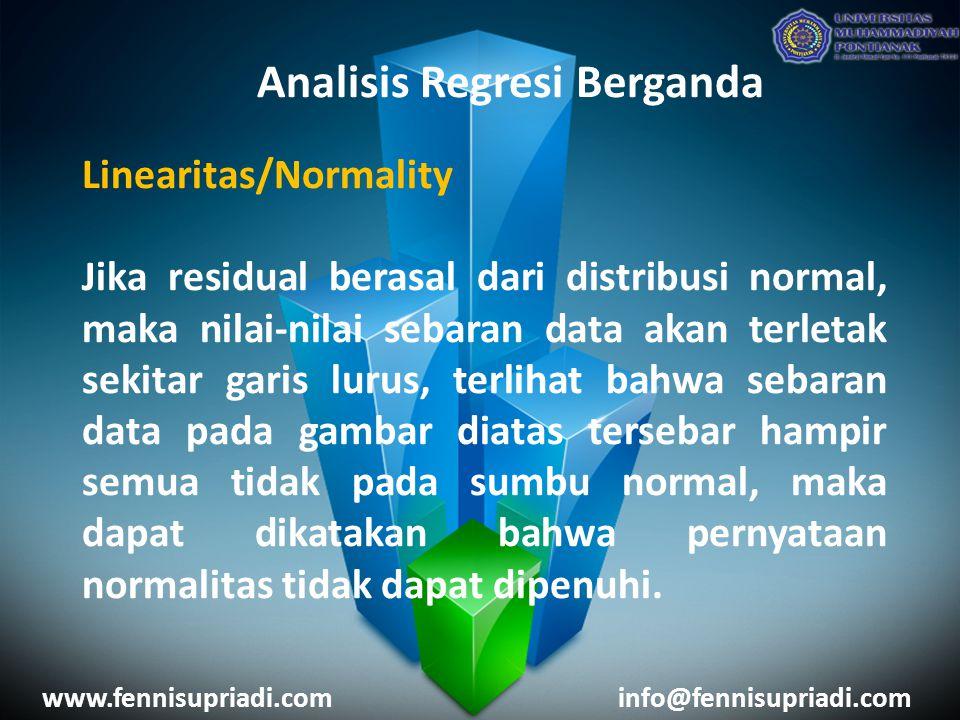 www.fennisupriadi.cominfo@fennisupriadi.com Analisis Regresi Berganda Linearitas/Normality Jika residual berasal dari distribusi normal, maka nilai-ni