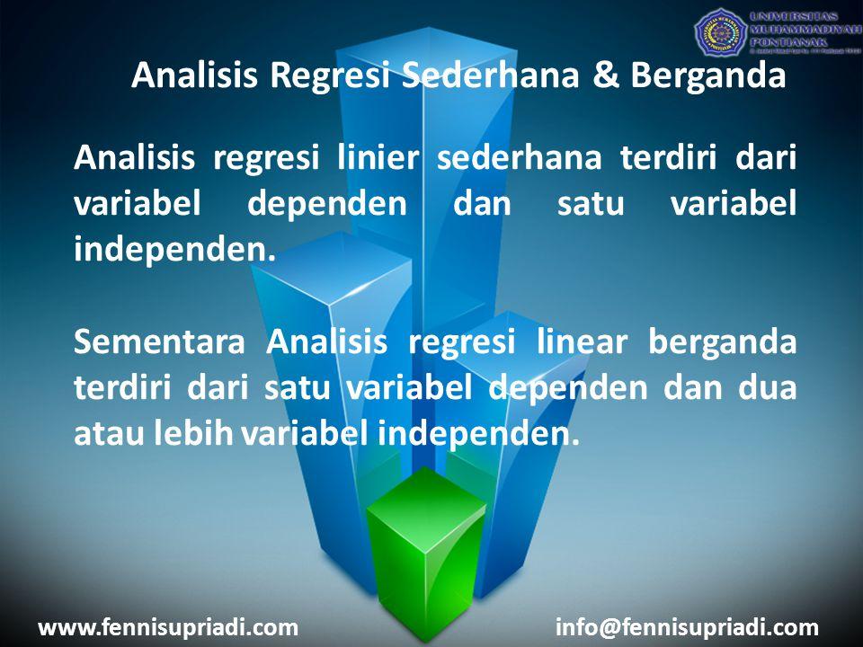 www.fennisupriadi.cominfo@fennisupriadi.com Analisis Regresi Sederhana Analisis regresi linear sederhana dipergunakan untuk mengetahui pengaruh antara satu buah variabel bebas terhadap satu buah variabel terikat.