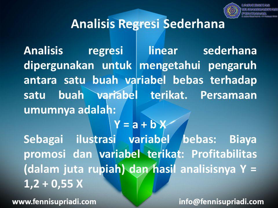 www.fennisupriadi.cominfo@fennisupriadi.com Analisis Regresi Berganda Analisis regresi linear berganda sebenarnya sama dengan analisis regresi linear sederhana, hanya variabel bebasnya lebih dari satu buah.