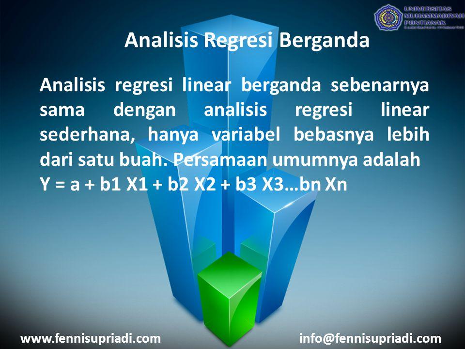 www.fennisupriadi.cominfo@fennisupriadi.com Analisis Regresi Berganda Analisis regresi linear berganda sebenarnya sama dengan analisis regresi linear