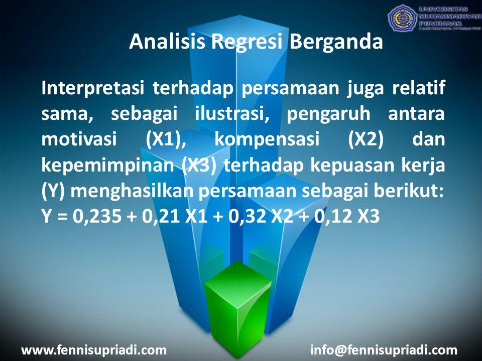 www.fennisupriadi.cominfo@fennisupriadi.com Analisis Regresi Berganda Analisis Regresi Berganda Misalnya dalam suatu kegiatan penelitian ingin diketahui apakah variabel X (Gender dan Nilai Tugas Terstruktur) berpengaruh terhadap variabel Y (Nilai UAS).