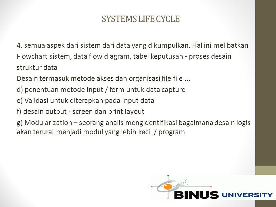 SYSTEMS LIFE CYCLE 4. semua aspek dari sistem dari data yang dikumpulkan. Hal ini melibatkan Flowchart sistem, data flow diagram, tabel keputusan - pr