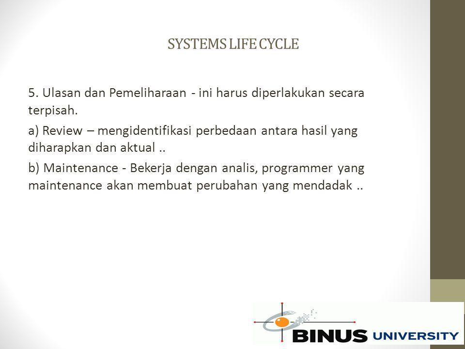 SYSTEMS LIFE CYCLE 5. Ulasan dan Pemeliharaan - ini harus diperlakukan secara terpisah. a) Review – mengidentifikasi perbedaan antara hasil yang dihar