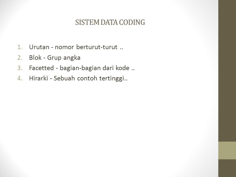 SISTEM DATA CODING 1.Urutan - nomor berturut-turut.. 2.Blok - Grup angka 3.Facetted - bagian-bagian dari kode.. 4.Hirarki - Sebuah contoh tertinggi..