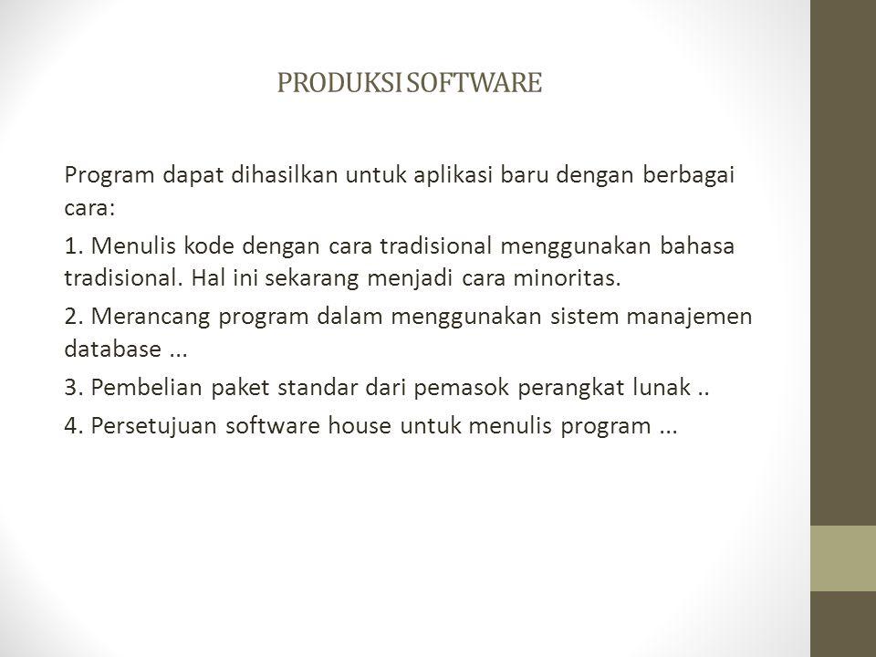 PRODUKSI SOFTWARE Program dapat dihasilkan untuk aplikasi baru dengan berbagai cara: 1. Menulis kode dengan cara tradisional menggunakan bahasa tradis